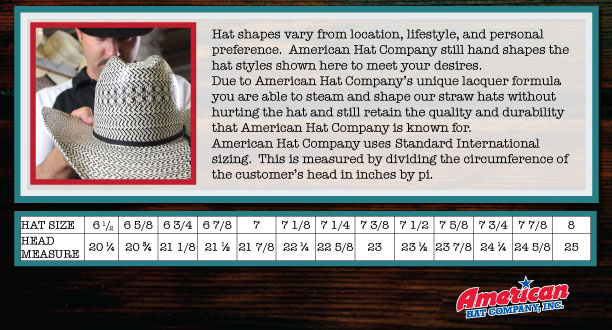 American Hat Company Hat Sizing Chart