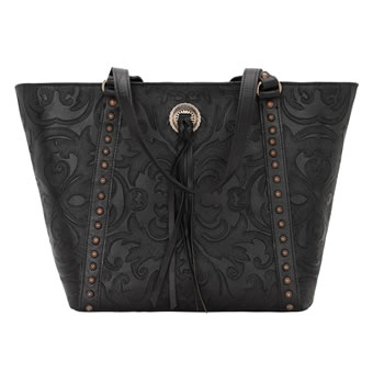 American West Baroque Zip-Top Bucket Tote - Black