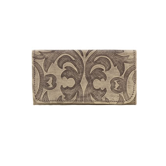 American West Ladies Baroque Tri-Fold Wallet - Sand
