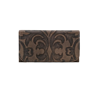 American West Ladies Baroque Tri-Fold Wallet - Charcoal Brown