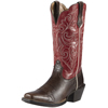 Ariat Round Up Square Toe  Boots - Washed Brown/Red