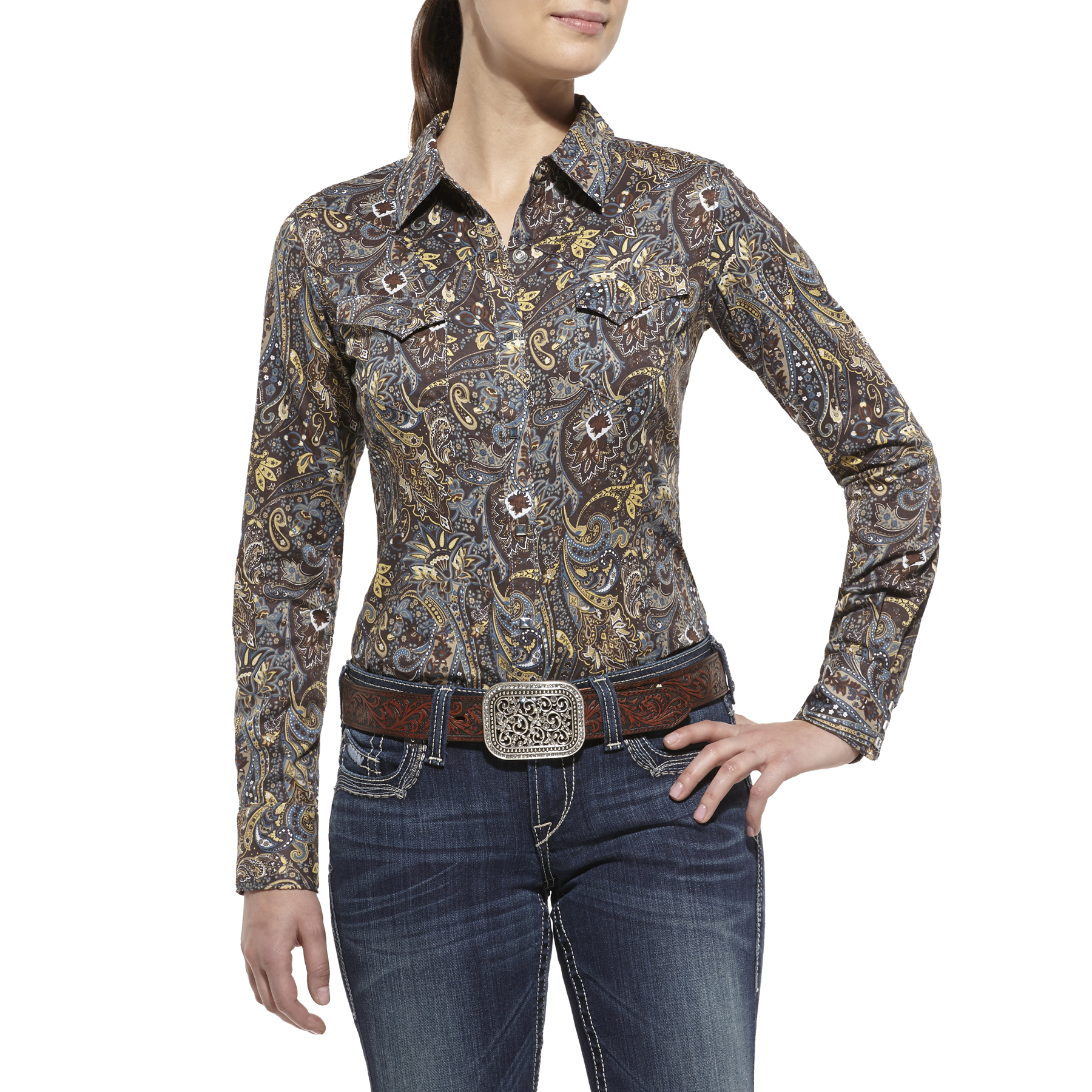 western apparel womens ariat shirts blouses silk pintuck