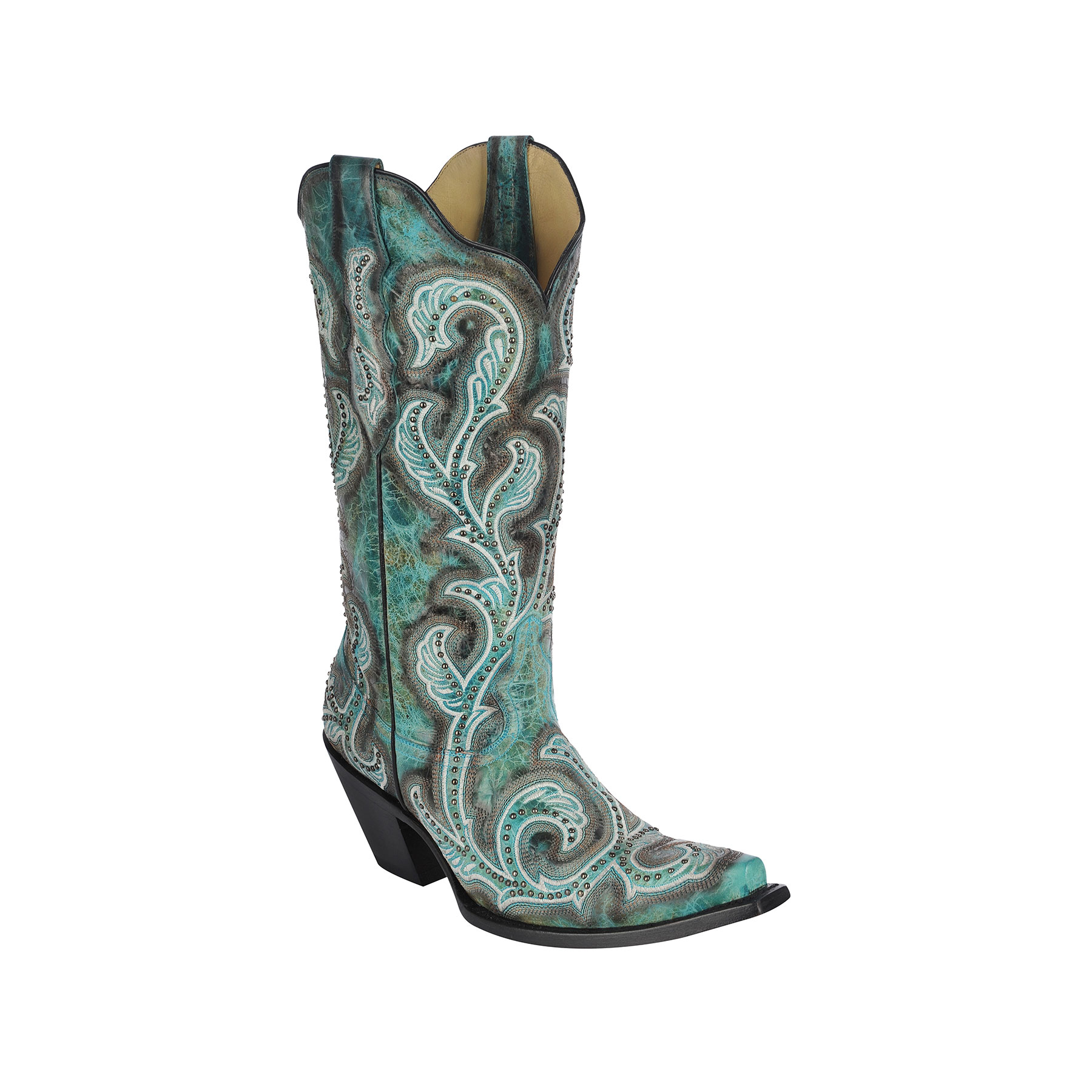 Wonderful Corral Bootsu00ae Ladiesu0026#39; Turquoise Cross With Crystals Boots - Fort Brands