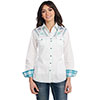 Cowgirl Up Ladies L/S Light Enzyme Wash Woven Shirt