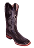 Ferrini Men's Caiman Crocodile Print Square Toe Western Boots - Black