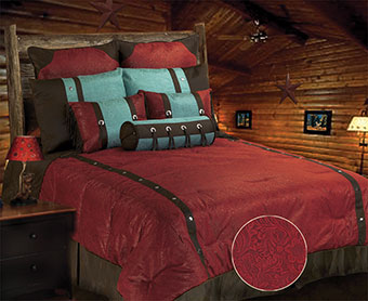 Cheyenne Faux Tooled Leather Bedding Set - Red