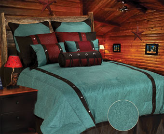 Cheyenne Faux Tooled Leather Bedding Set - Turquoise