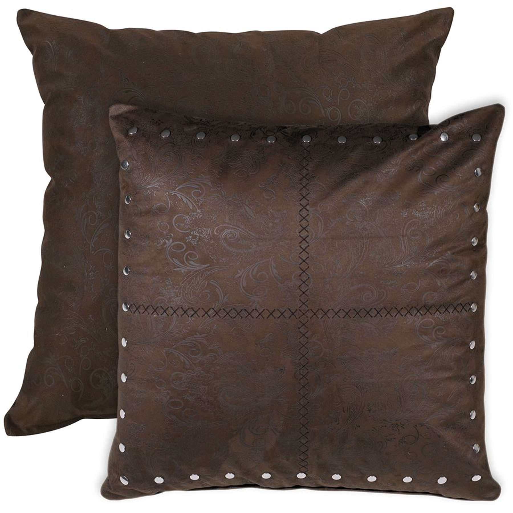 Decorative Pillows Leather : Pungo Ridge - Tucson Faux Leather Tooled Pillow, Decorative Pillows & Shams, WS4078ES