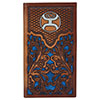 Hooey Signature Tooled Leather Rodeo Wallet w/Navy Inlay