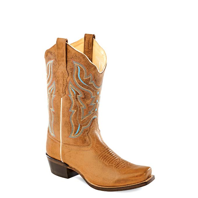 f1c52f3208e Old West Ladies Medium Square Toe Boots - Light Brown
