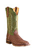 Old West Outlaw Men's Square Toe Ostrich Print Boots - Cognac