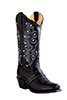 Old West Outlaw Women's Narrow Square Toe Boots w/Vamp Strap - Black