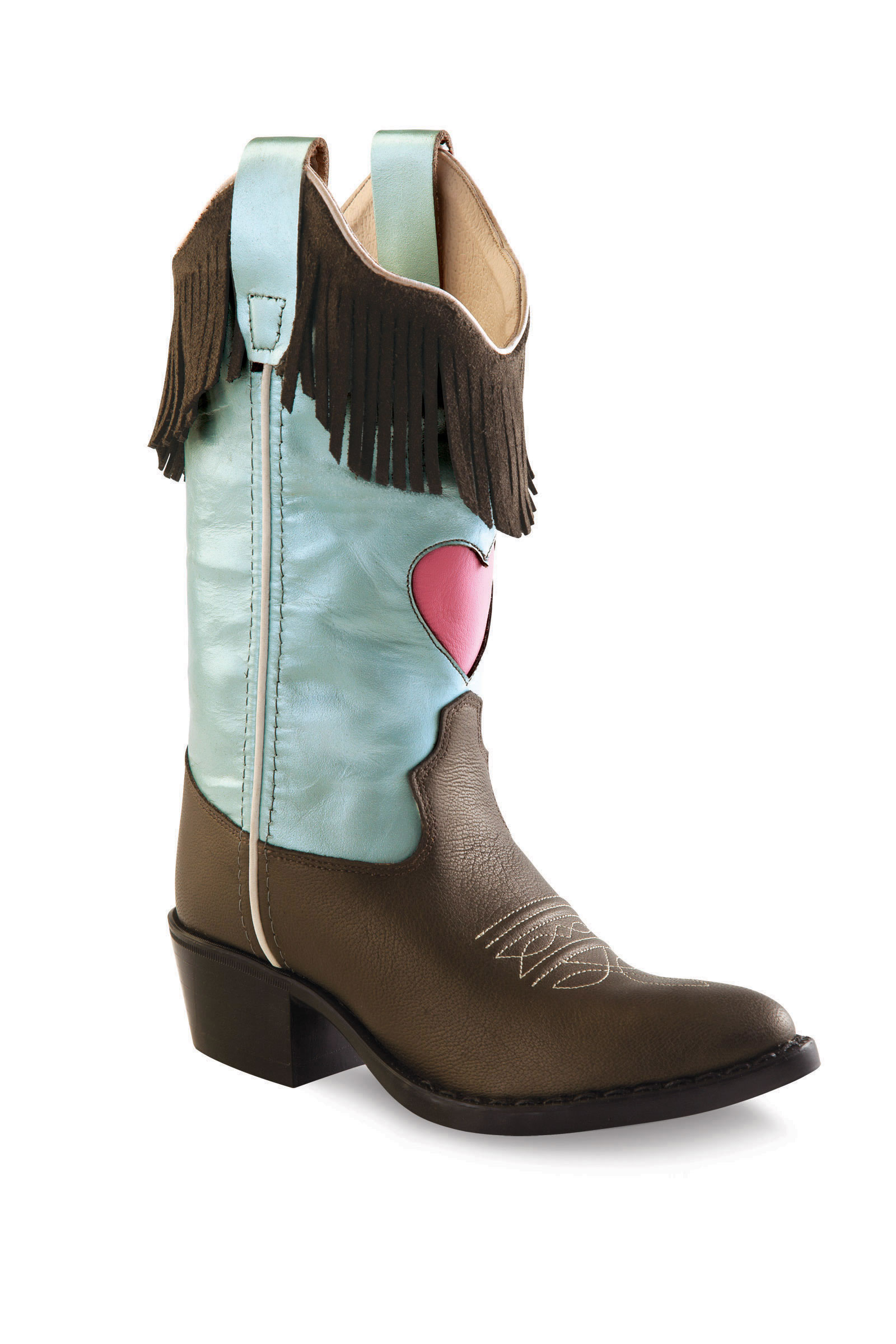 a5b9844e556 Old West Children's J Toe Western Boots - Brown/Silver Blue