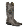 Roper Ladies Square Toe Native Embroidered Boots - Brown
