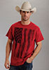 Roper Adult Distressed Flag S/S T-Shirt - Red