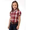Roper Girl's Plaid S/S Snap Shirt - Red