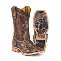 Tin Haul® Men's Tooled Skull Boots w/ Warrior Rider Sole
