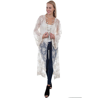 Scully Honey Creek Long Sleeve Lace Duster - Ivory