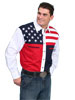 Scully Men's Red, White & Blue Color Block Shirt w/Stars & Stripes
