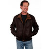 Scully Men's Featherlite Leather Jacket - Chocolate w/Cognac Collar
