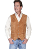 Scully Men's Lamb Suede Snap Front Vest - Rust