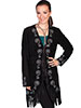 Scully Ladies Fringe Embroidered Suede Coat - Black