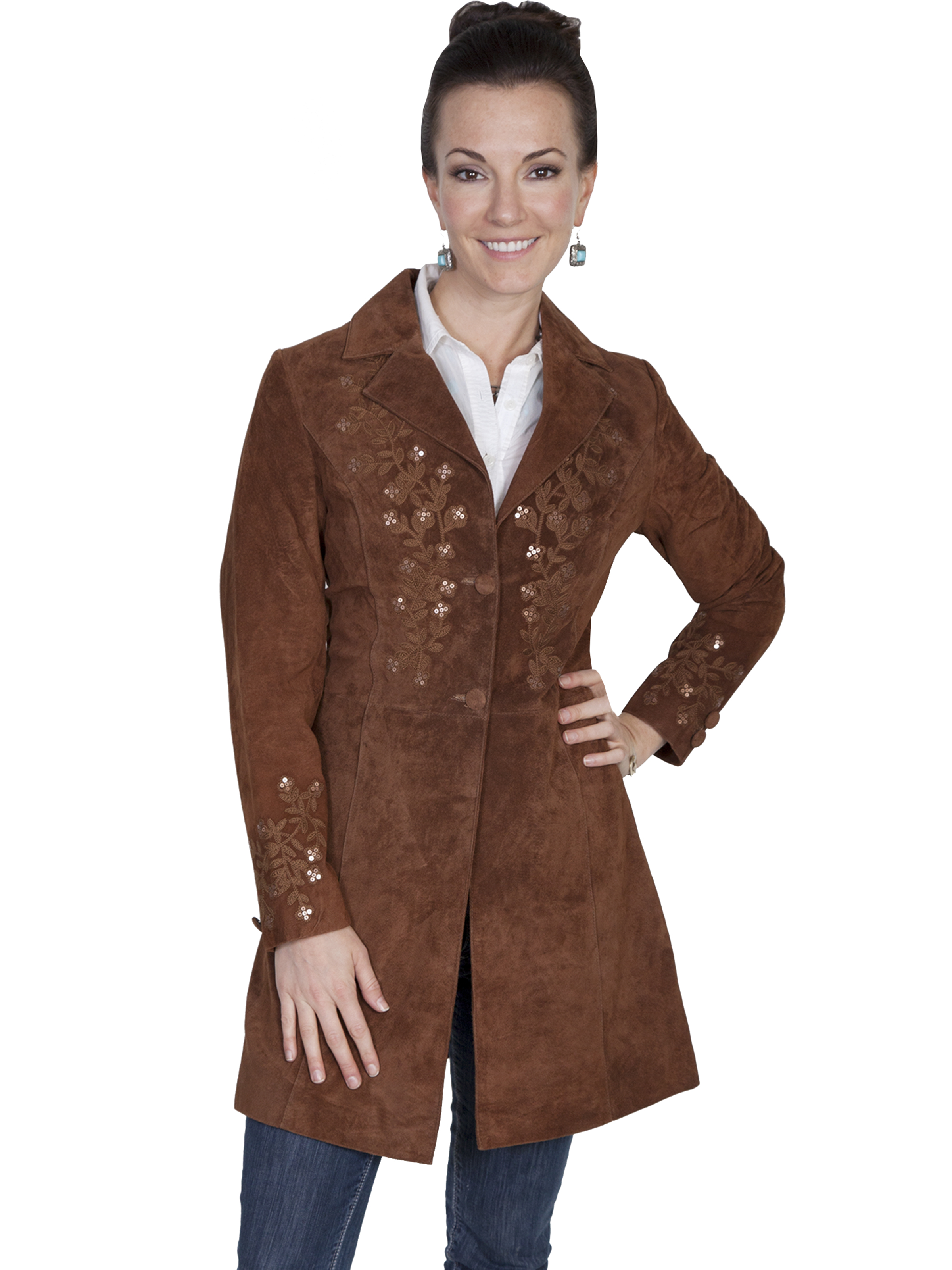 Pungo ridge scully ladies boar suede embroidered coat
