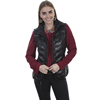 Scully Ladies Ribbed Leather Vest - Black