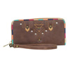 Catchfly Maya Wallet With Wristlet - Brown/Blue