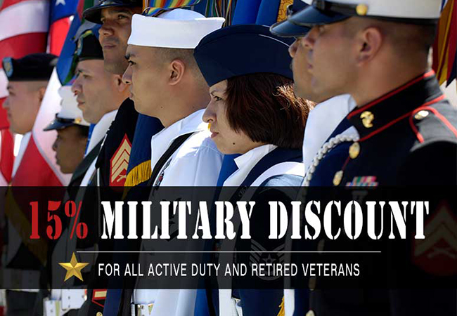 15% Military Discount for all Active Duty and Retired Veterans