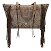 American West Canyon Creek Zip-Top Fringe Tote - Brown/Chocolate