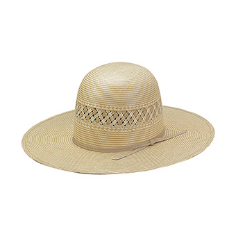 American Hat Co 15★ 2X2 Two-Tone Vented Shantung Straw Hat - Tan/Ivory