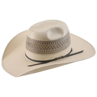 American Hat Co 20★ Solid Weave Fancy Vent Straw Hat - Ivory/Grey