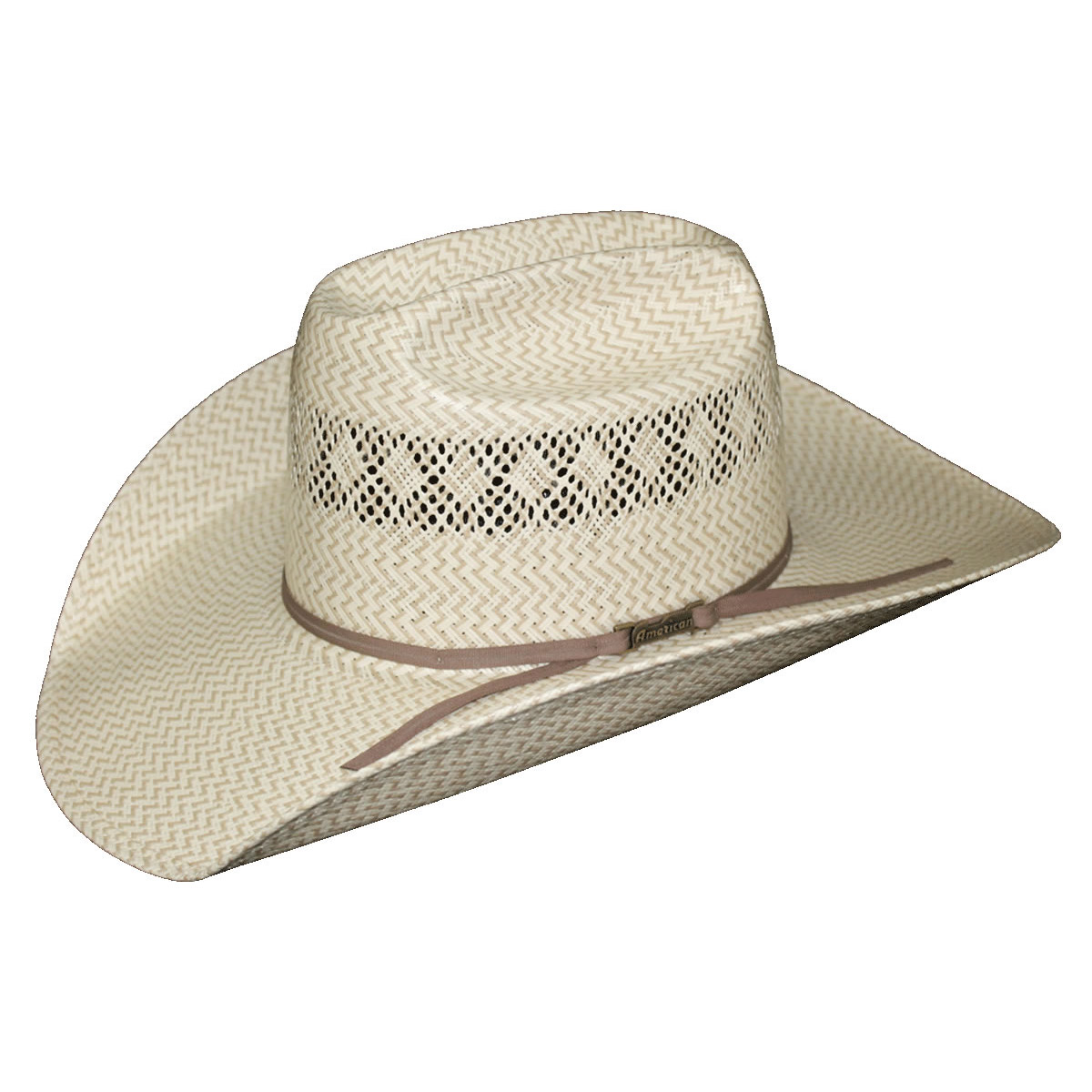 c188ca0aca0 American Hat Co 20☆ Fancy Vent   Weave Two-Tone Straw Hat - Tan. Tap to  expand