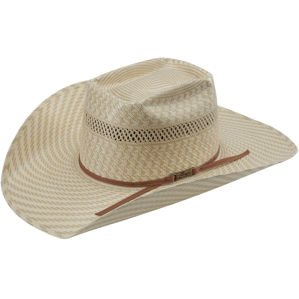 American Hat Co 15☆ Swirl Vented Straw Hat - Tan White. Tap to expand dee4f07da141