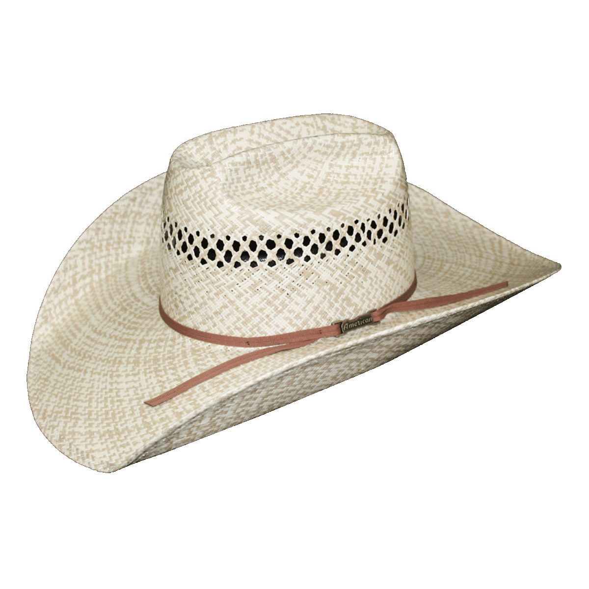 1b5b0a851b3 American Hat Co 20☆ Two Tone Fancy Vent Straw Hat - Ivory Tan. Tap to expand