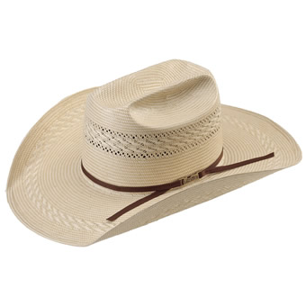 American Hat Tuf Cooper 20★ Fancy Weave & Vent Straw Hat - Ivory/Tan