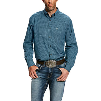 Ariat Men's Hallaway L/S Performance Shirt - Drift Turquoise