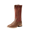 Ariat Men's Gold Buckle Caramel Caiman Belly / Ace Red