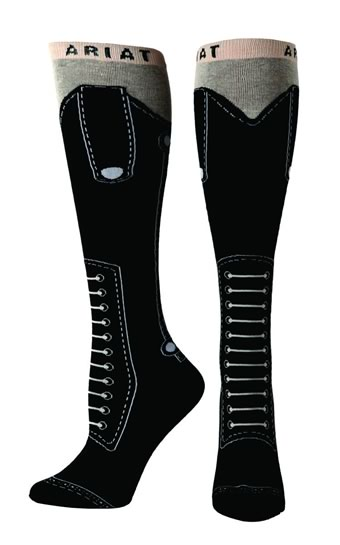 557f59ced6f Ariat Knee High Boot Socks - Black Lace-up