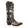 Circle G Women's Distressed Black/Sand Embroidered Boots