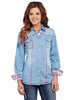 Cowgirl Up Ladies L/S Faded Denim Shirt - Stonewash