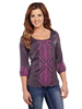 Cowgirl Up Ladies 3/4 Sleeve Geometric Embroidered Blouse