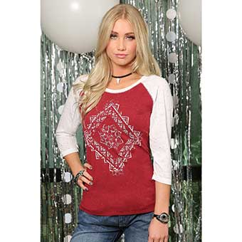 Cruel Ladies 3/4 Sleeve Raglan Tee - Cranberry