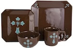 16-Piece Rustic Cross Dinnerware Set