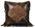 Embroidered Faux Leather Pillow