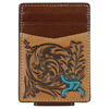 Hooey Roughy Signature Tooled Leather Money Clip - Brown