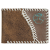 Hooey Signature Whipstich Leather Bi-Fold Wallet - Brown/White/Turquoise