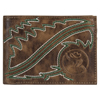 Hooey Roughy Signature Embroidered Bi-Fold Wallet - Brown/Green/White