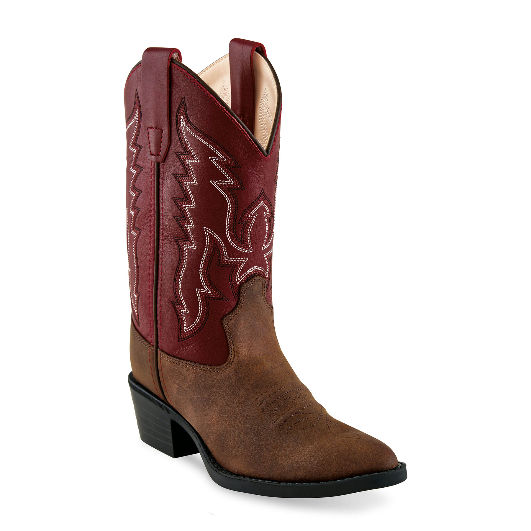 f1a564c8773 Old West Youth's J Toe Western Boots - Brown/Red